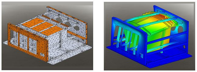 Modular power supply design: Right image shows mesh array. Left image shows the exaggerated deflection from a shock simulation.