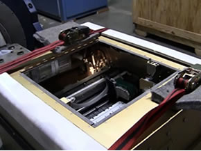 An inkjet printer undergoing vibration testing